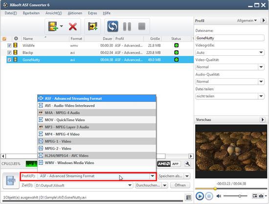Xilisoft ASF Converter Anleitung