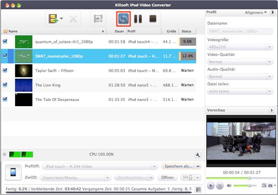 Video oder Audio für iPod konvertieren unter Mac OS
