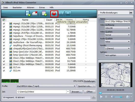 Videos für iPod umwandeln