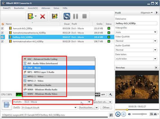 MOV Videodateien umwandeln