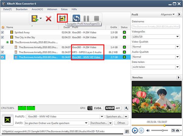 Video oder Audio für Xbox/Xbox 360 umwandeln Gebrauchsanleitung
